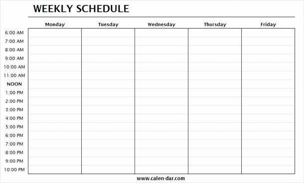 Monday to Friday Schedule Template Fresh Monday Through Friday Printable Weekly Schedule