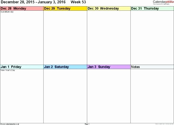 Monday to Friday Schedule Template Fresh Monday Through Friday Weekly Schedule Template Calendar