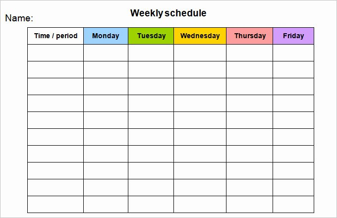 Monday to Friday Schedule Template Inspirational Week Calendar Template 8 Free Word Documents Download