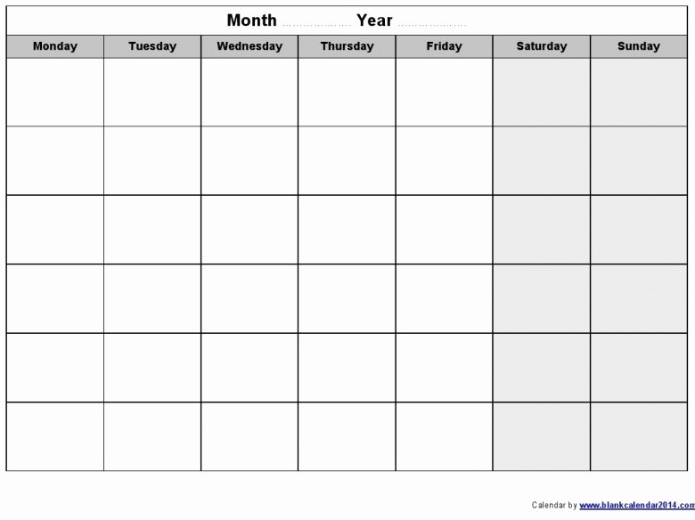 Monday to Friday Schedule Template Lovely Blank Calendar Template Monday Through Friday 2016 Free
