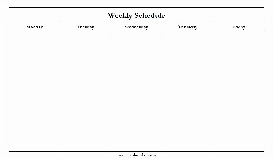 Monday to Friday Schedule Template Luxury Monday Friday Calendar Template