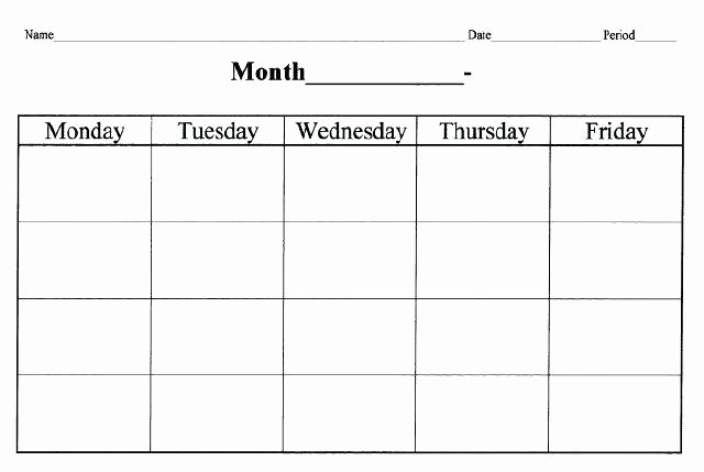 Monday to Friday Schedule Template New Blank Printable Calendar Monday Through Friday Free