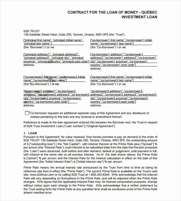 Money Loan Contract Template Free Elegant 28 Loan Contract Templates – Pages Word Docs
