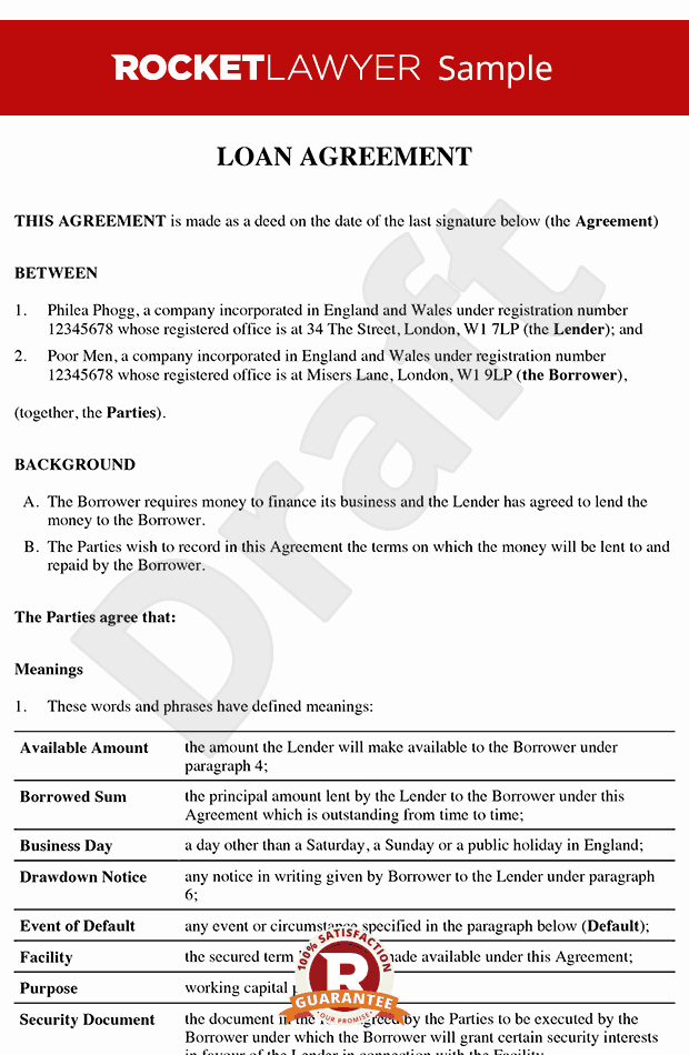 Money Loan Contract Template Free Fresh Loan Agreement Loan Contract Loan Agreement Template