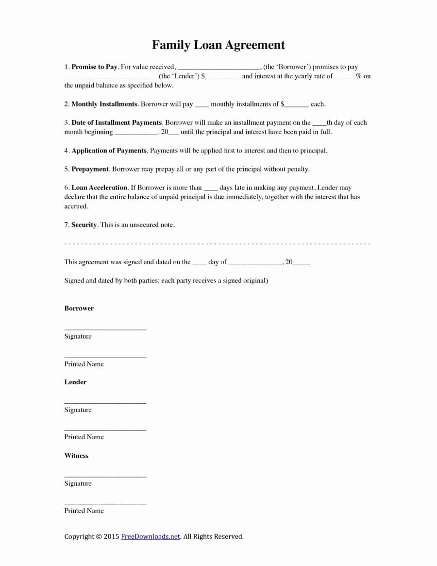 Money Loan Contract Template Free Lovely 40 Free Loan Agreement Templates [word & Pdf] Template Lab