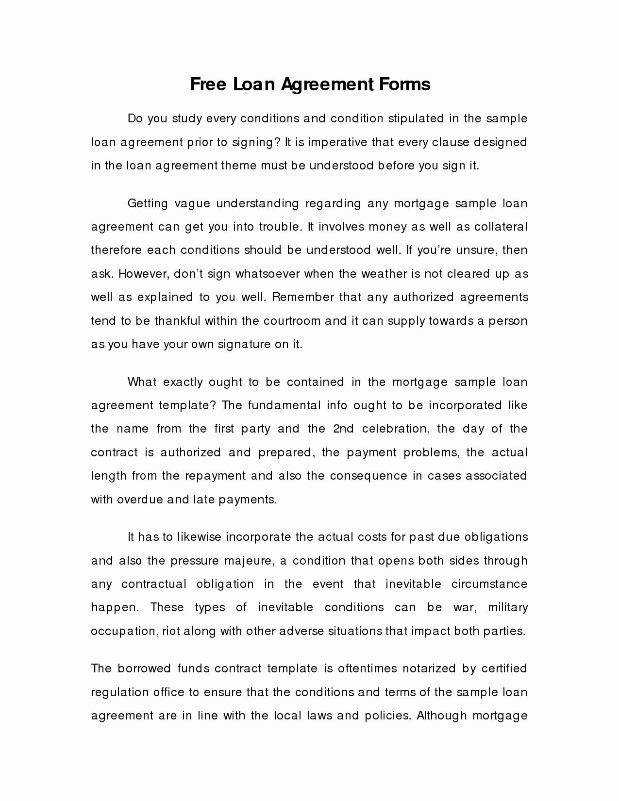 Money Loan Contract Template Free Luxury Money Loan Contract Template Free Free Printable Documents
