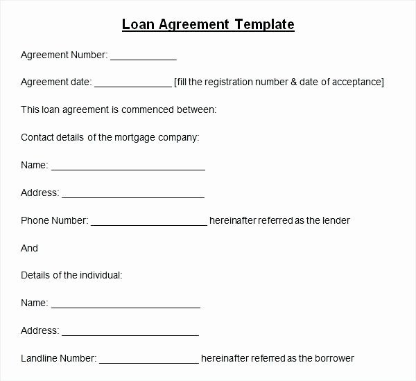 Money Loan Contract Template Free New Money Borrowing Agreement Template N Contract General