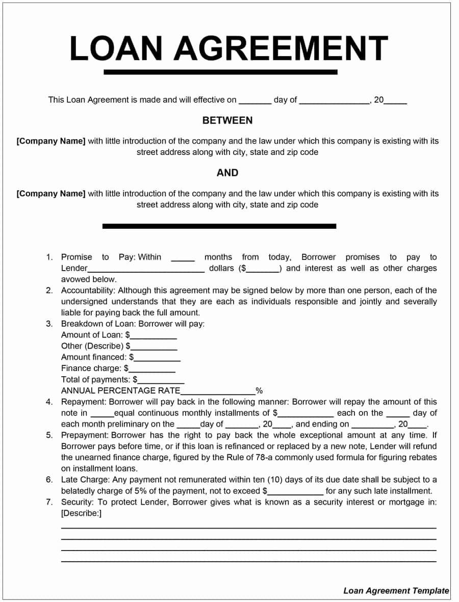 Money Loan Contract Template Lovely 40 Free Loan Agreement Templates [word & Pdf] Template Lab