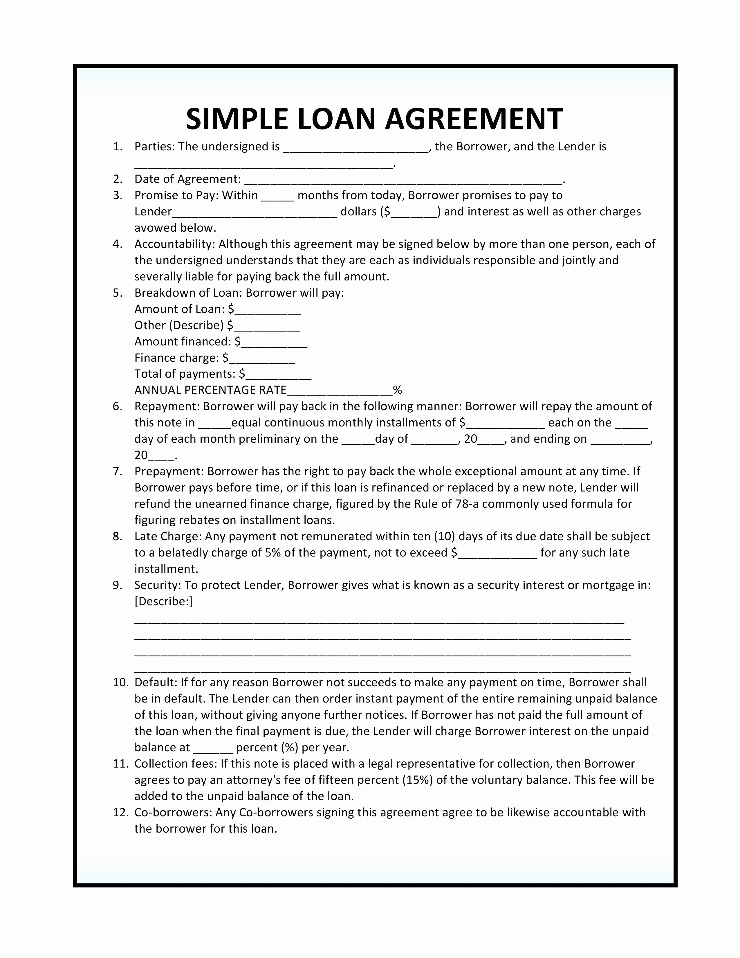 Money Loan Contract Template Lovely Template Money Lending Agreement Template