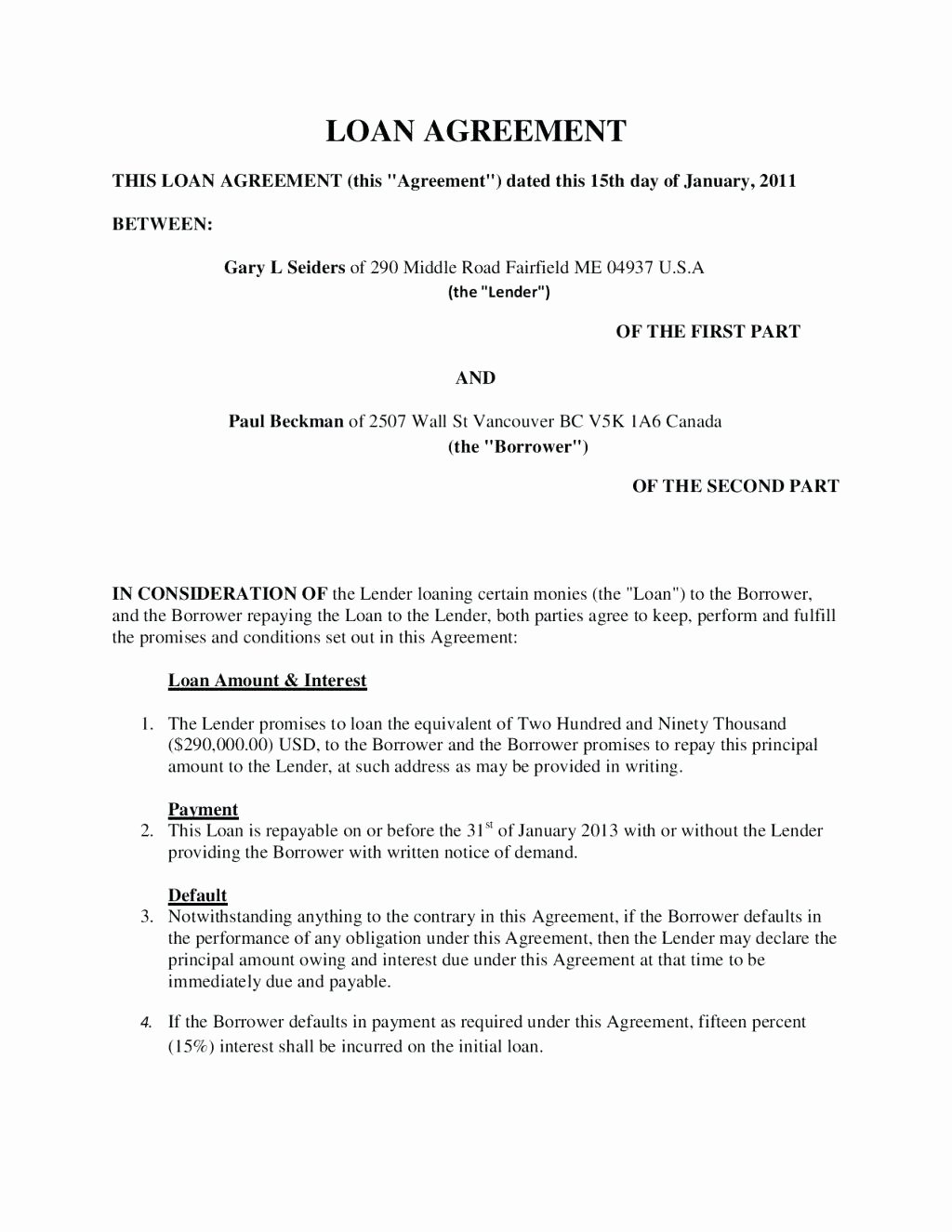 Money Loan Contract Template Luxury Template Pany Loan Agreement Template