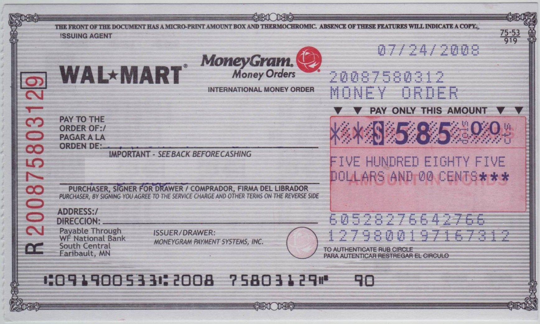 Money order Receipt Template Beautiful Blank Check Sample