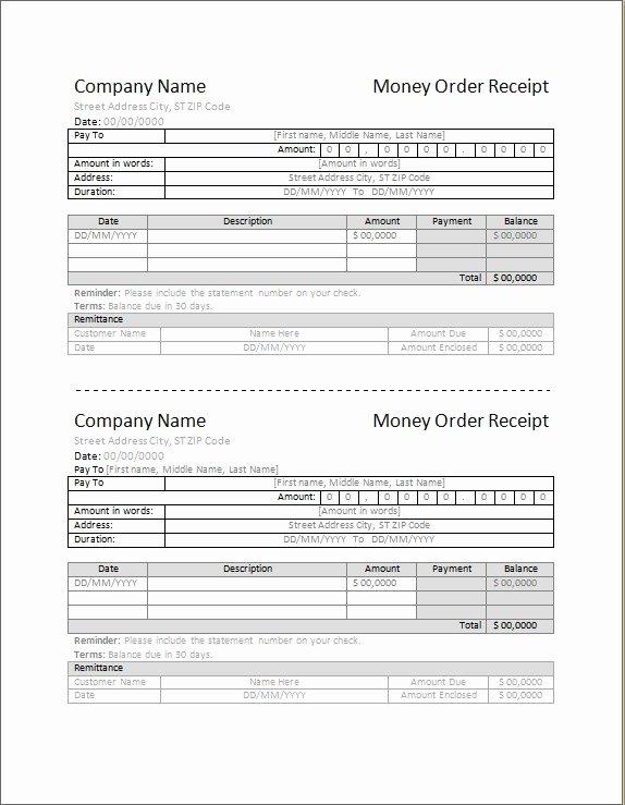 Money order Receipt Template Luxury 4 Best Money order Receipt Template
