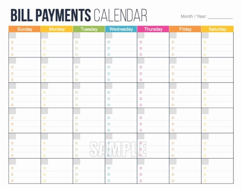 Monthly Bill Calendar Template Awesome Bill Pay Calendar Printable Free Calendar Template