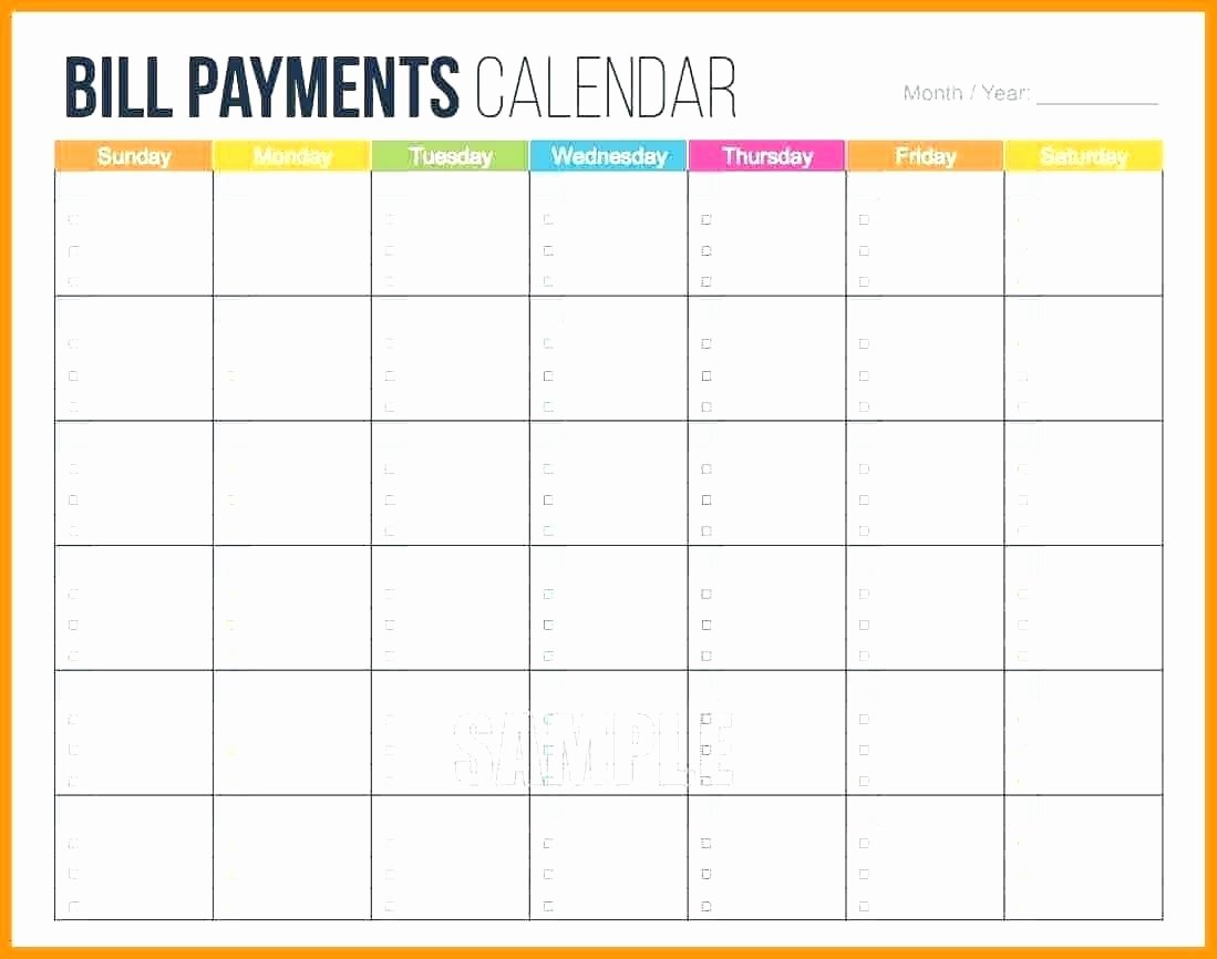 Monthly Bill Calendar Template Awesome Monthly Bill Template