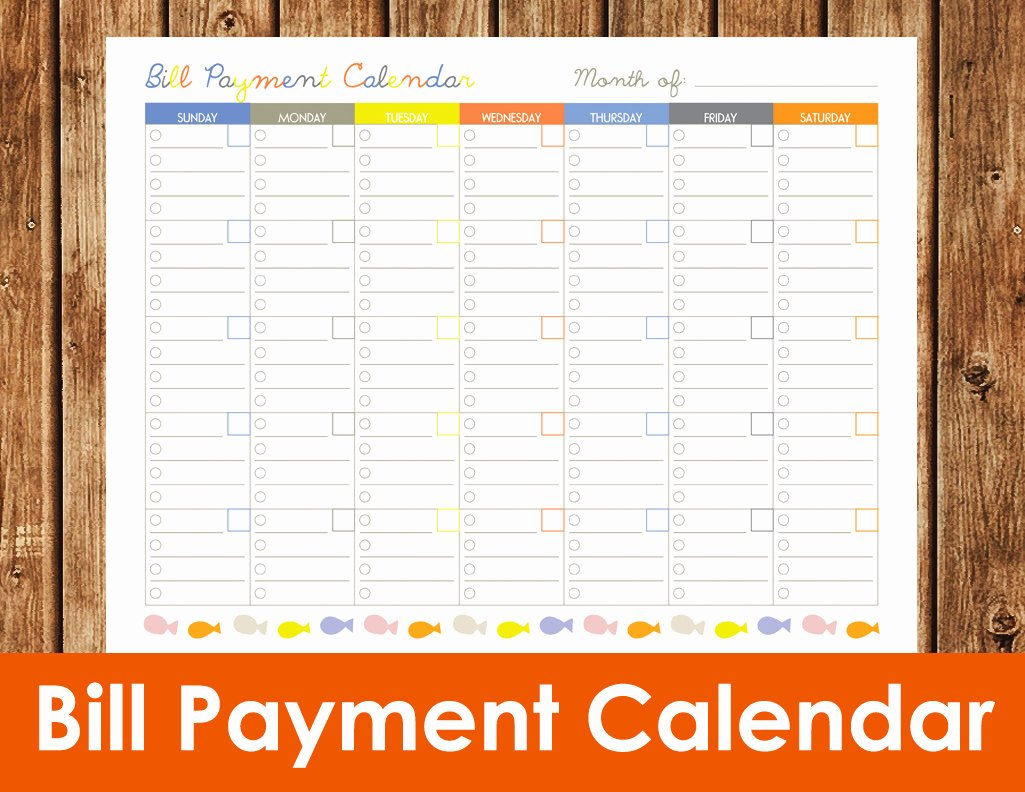 Monthly Bill Calendar Template Elegant Bill Payment Calendar Instant Download Pdf by Spottedpixel