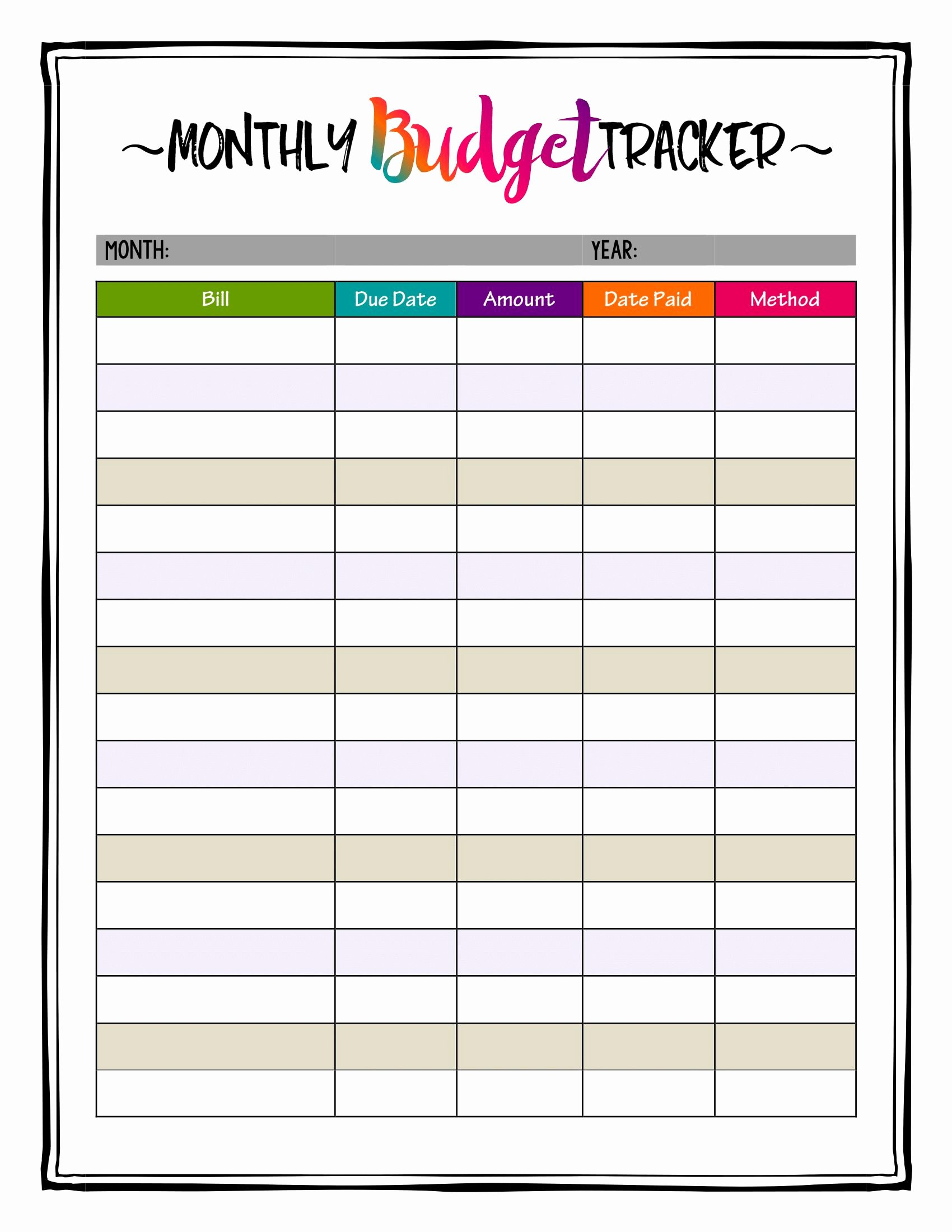 Monthly Bill Calendar Template Elegant How to organize Bills Super Bright Bud Tracker Makes