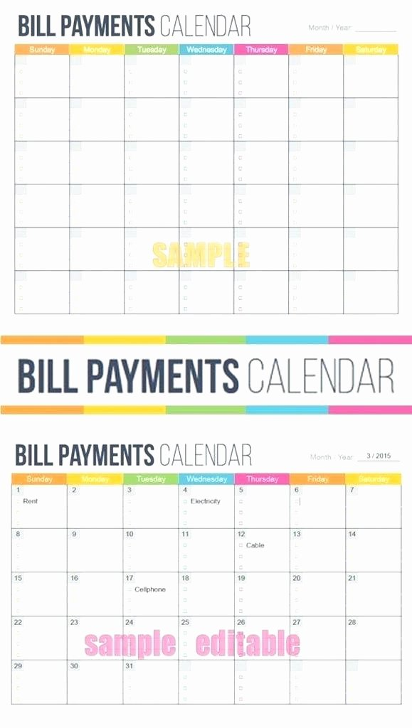 Monthly Bill Calendar Template Fresh Free Printable Monthly Bill Payment Log Worksheet to