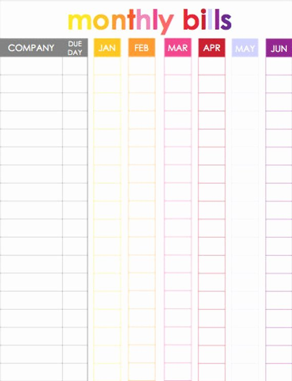 Monthly Bill Calendar Template Fresh Monthly Bill Tracker for Use with Erin Condren Life Planner