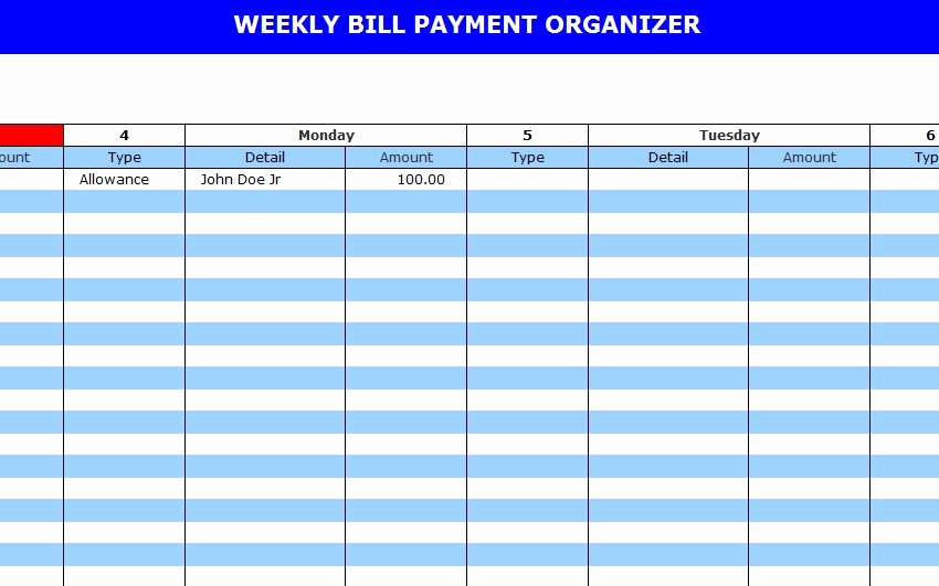 Monthly Bill Calendar Template Fresh Monthly Payment Template Examples Vatansun