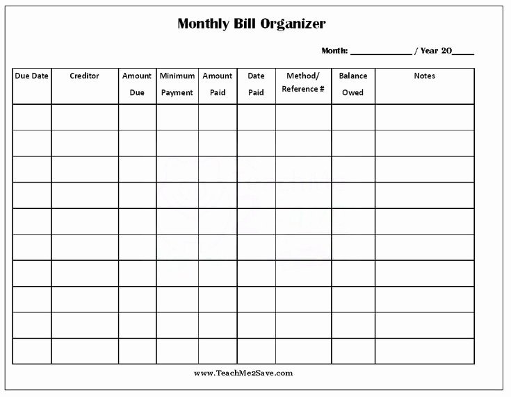 Monthly Bill Calendar Template Inspirational Free Printable Monthly Bill organizer