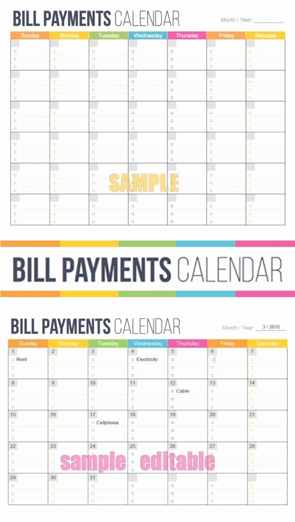 Monthly Bill Calendar Template New Printable Monthly Bill Calendar