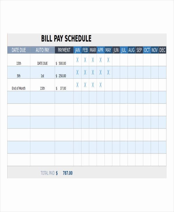 Monthly Bill Calendar Template Unique Bill Payment Schedule Template 12 Free Word Pdf format