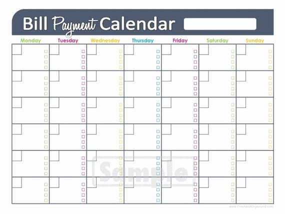 Monthly Bill Calendar Template Unique Bill Payments Calendar Editable Personal Finance