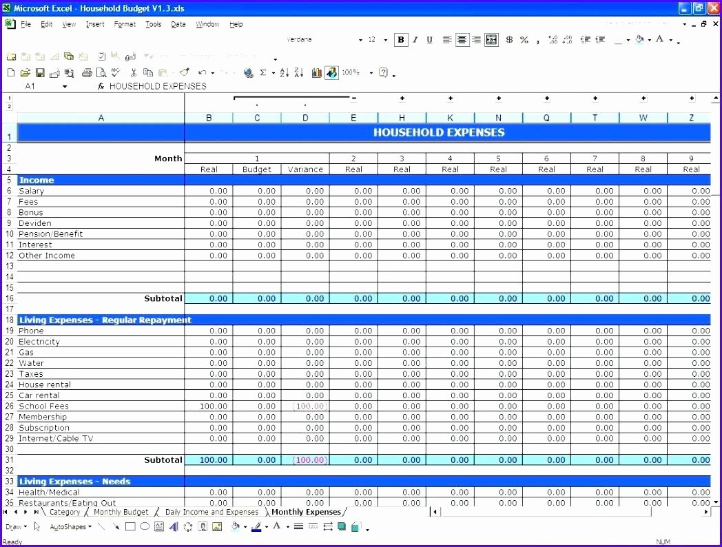 Monthly Budget Excel Spreadsheet Template Beautiful Blank Personal Bud Template