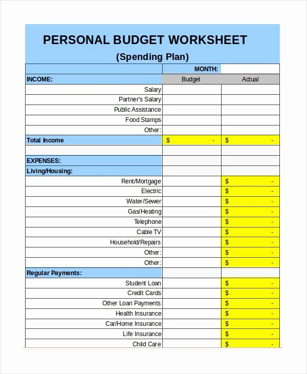 Monthly Budget Excel Spreadsheet Template Inspirational Personal Bud Template