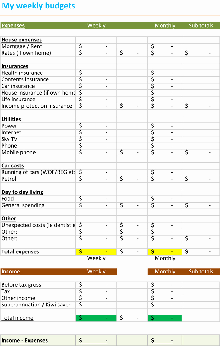Monthly Budget Excel Spreadsheet Template New Weekly Bud Spreadsheet Bud Templates