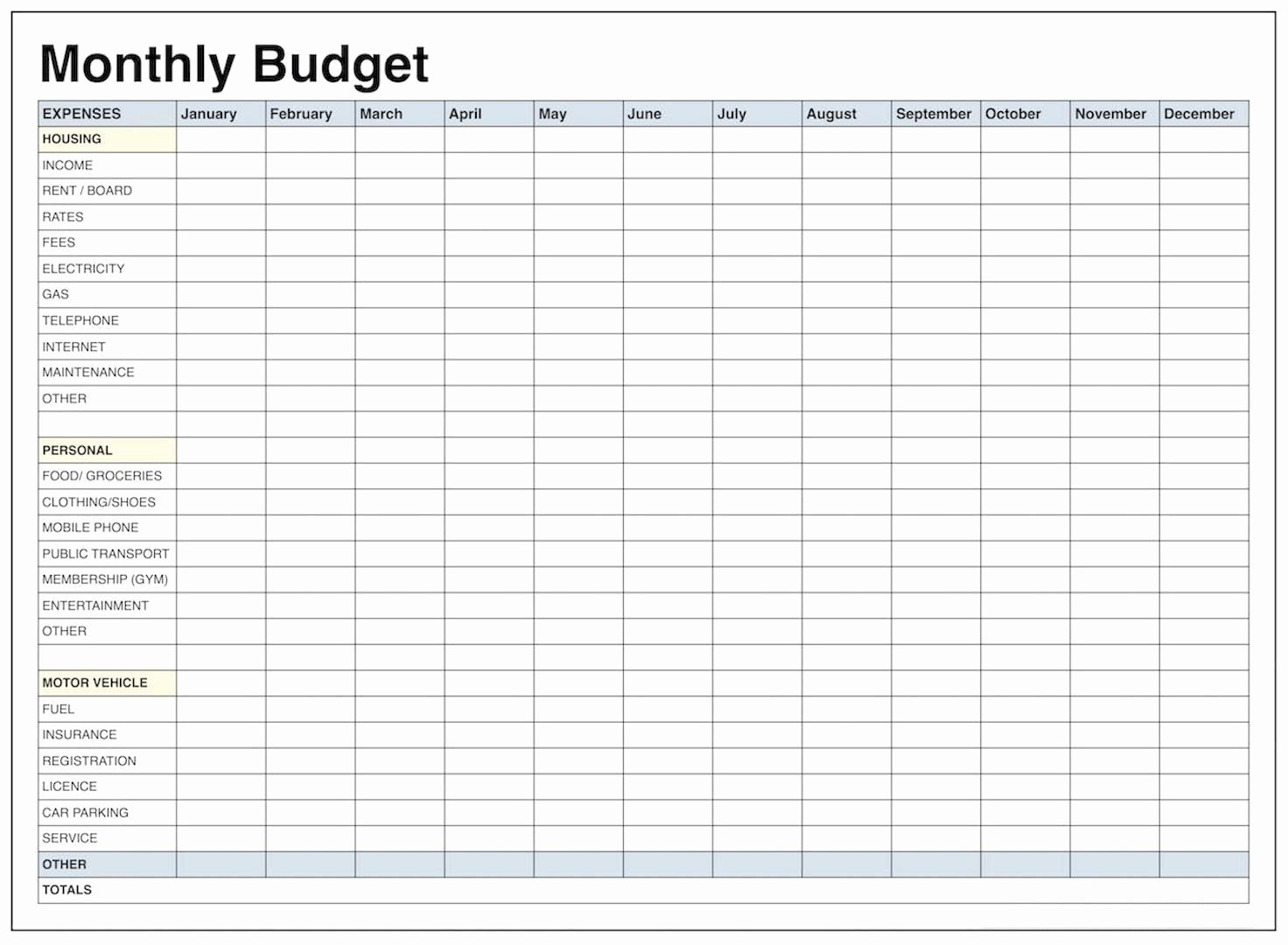 Monthly Budget Excel Spreadsheet Template Unique Blank Monthly Bud Template Pdf