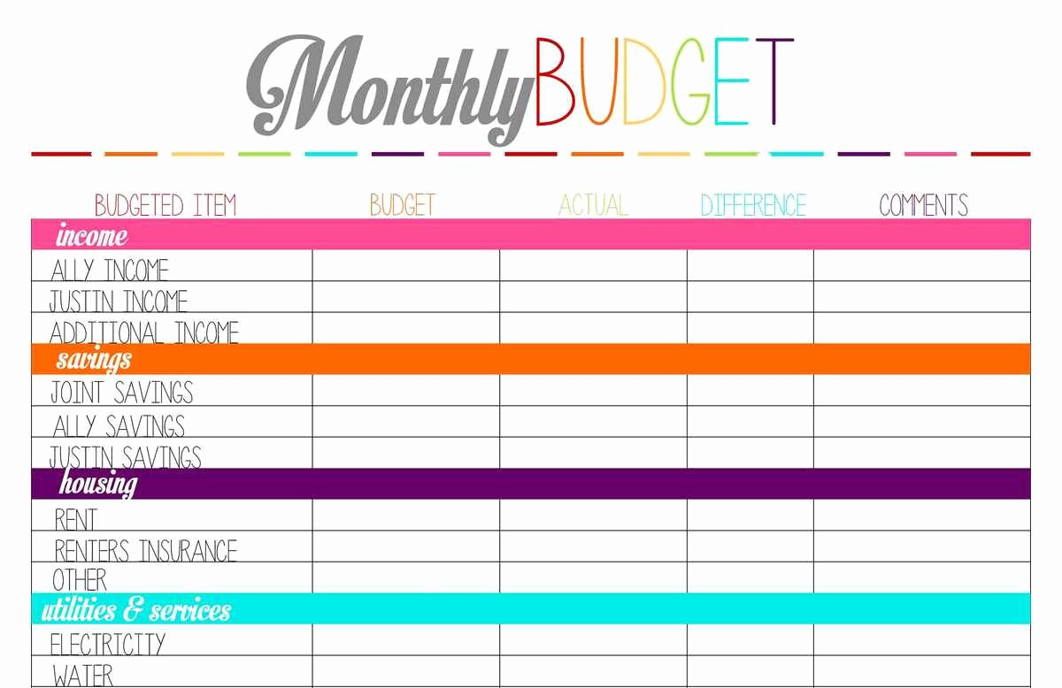 Monthly Budget Excel Spreadsheet Template Unique Printable Monthly Bud Template