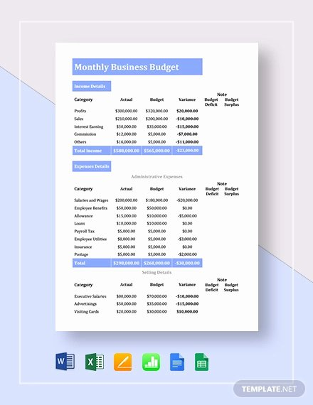 Monthly Business Budget Template Beautiful 21 Excel Monthly Bud Templates