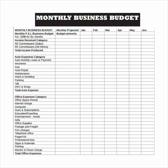 Monthly Business Budget Template Unique 10 Sample Business Bud Templates