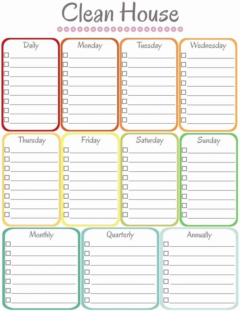 Monthly Cleaning Schedule Template Awesome Free Blank Printable Cleaning Schedule