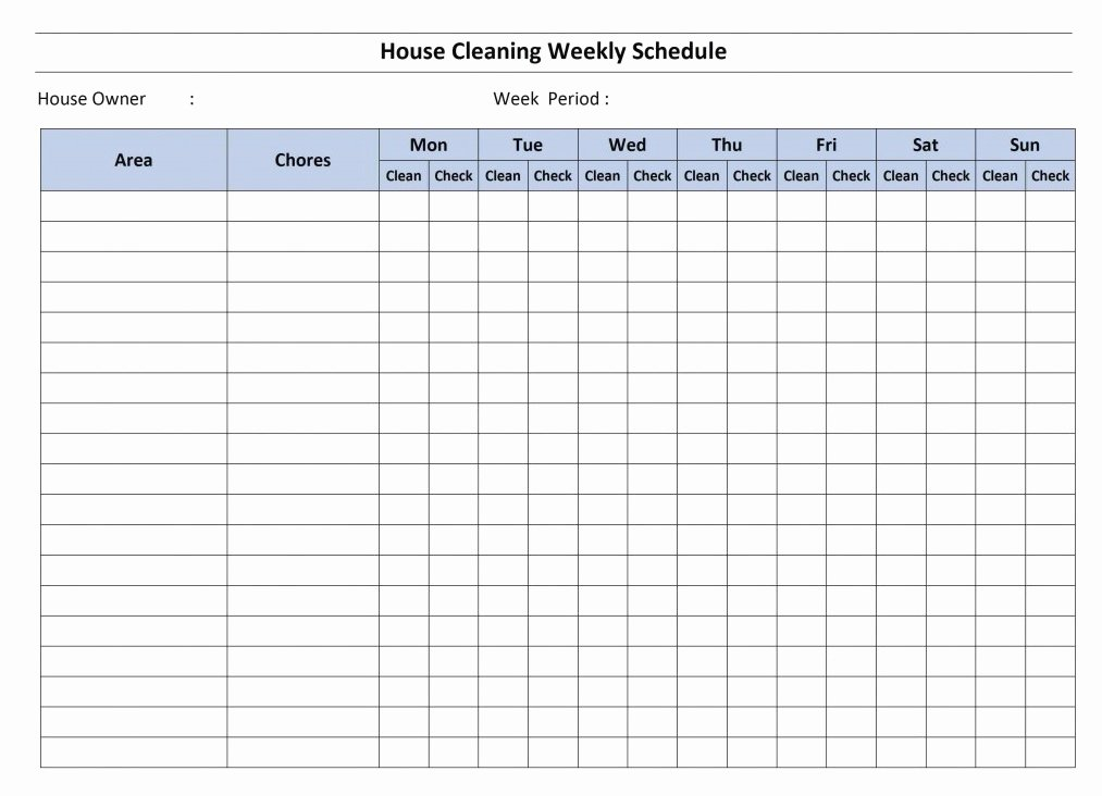 Monthly Cleaning Schedule Template Awesome House Cleaning Schedule Template Word Excel
