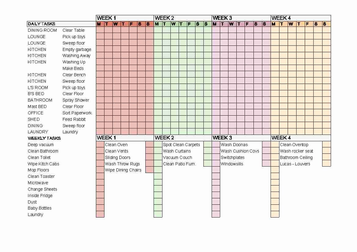 Monthly Cleaning Schedule Template Beautiful 5 Best Of Flylady Printable Checklists Weekly