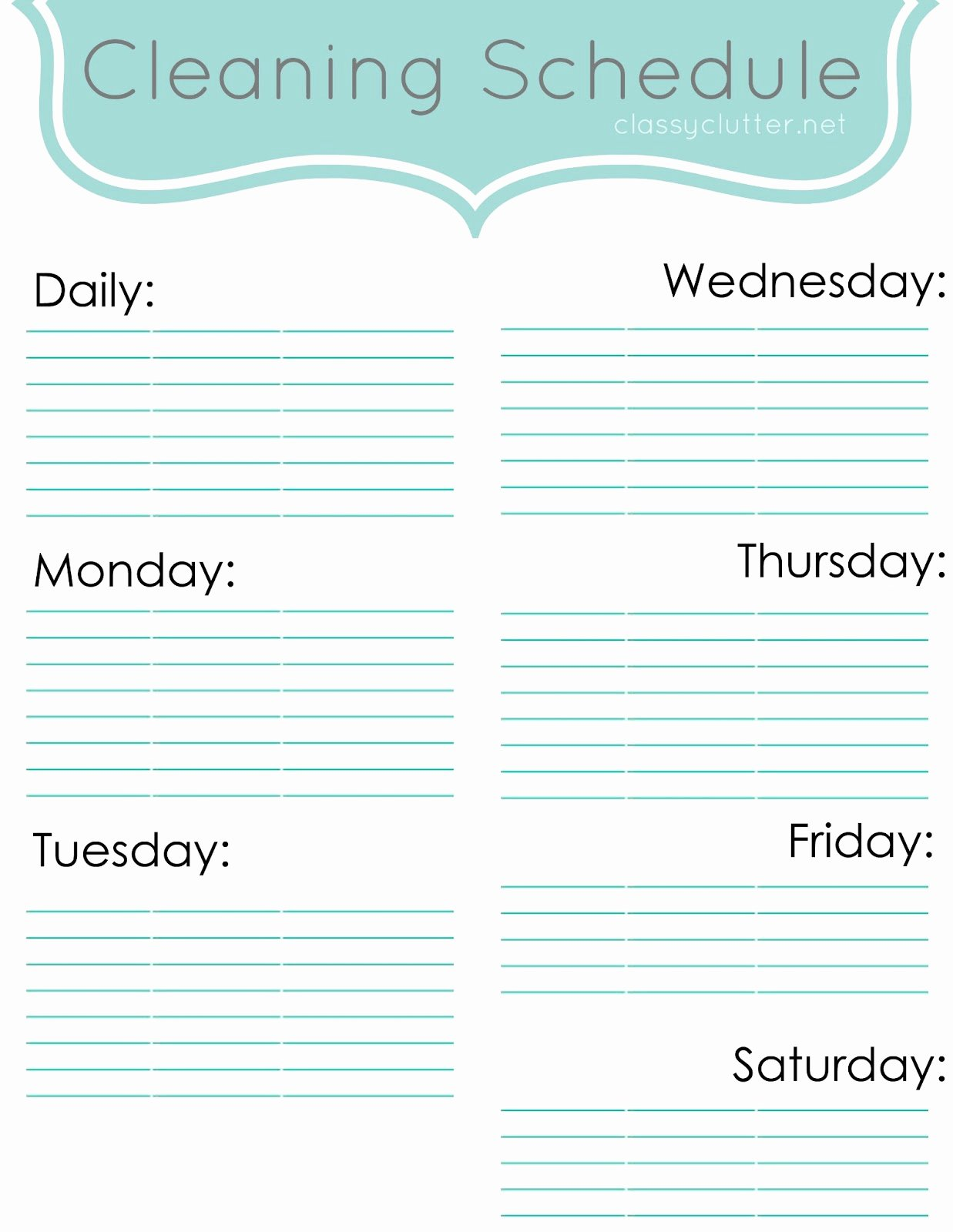 Monthly Cleaning Schedule Template Beautiful Weekly Cleaning Schedule Improve Your Cleaning Habits
