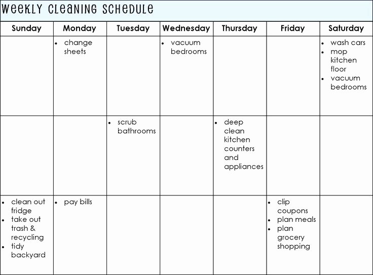 Monthly Cleaning Schedule Template Best Of Establishing A Cleaning Schedule for Your Home