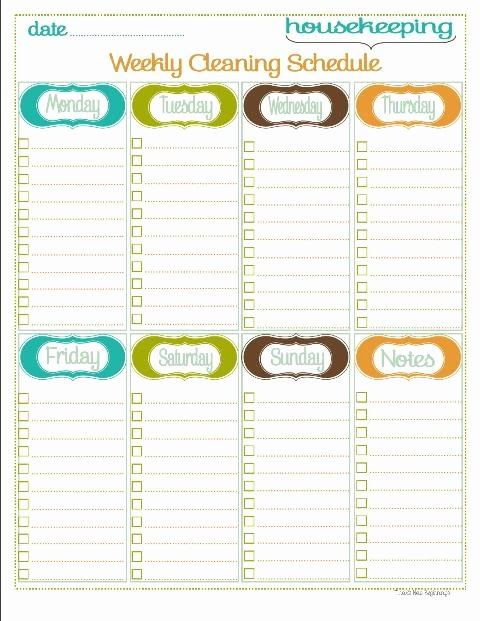 Monthly Cleaning Schedule Template Fresh Home Management Binder Housekeeping Section 5