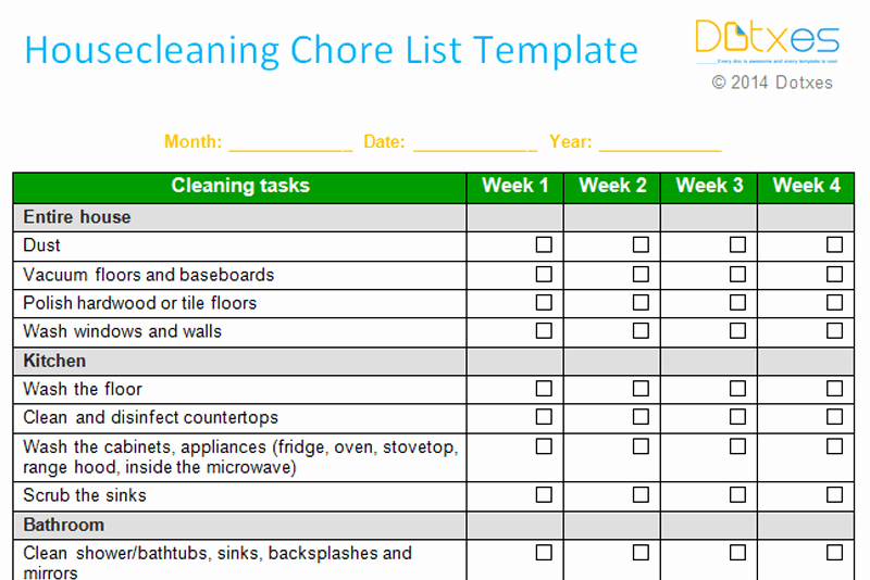 Monthly Cleaning Schedule Template Fresh House Cleaning Chore List Template Weekly Dotxes