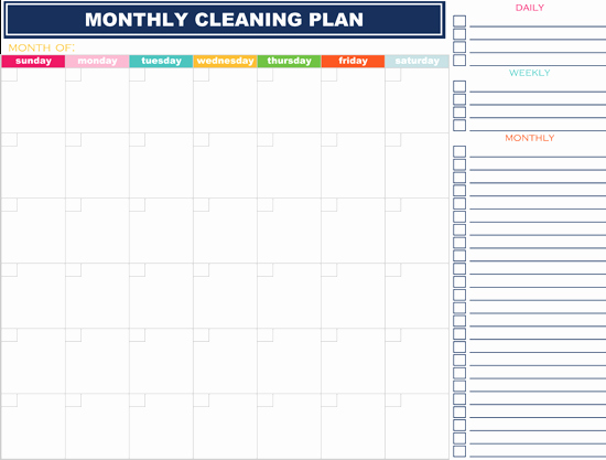Monthly Cleaning Schedule Template Inspirational How to organize Your Life In 2019 16 Free Printables