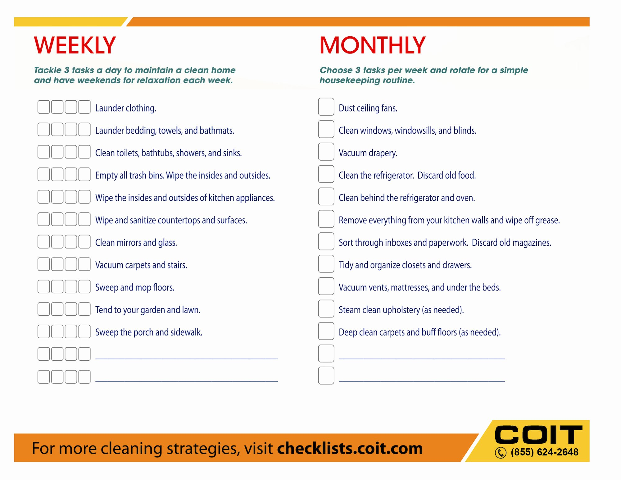 Monthly Cleaning Schedule Template Luxury Weekly and Monthly House Cleaning Checklist