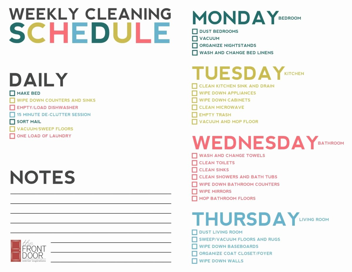 Monthly Cleaning Schedule Template Luxury Weekly Cleaning Schedule
