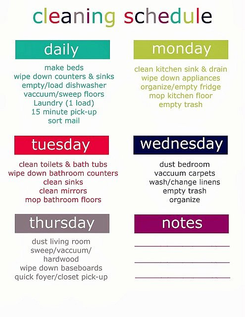 Monthly Cleaning Schedule Template New Printable Weekly Cleaning Schedule