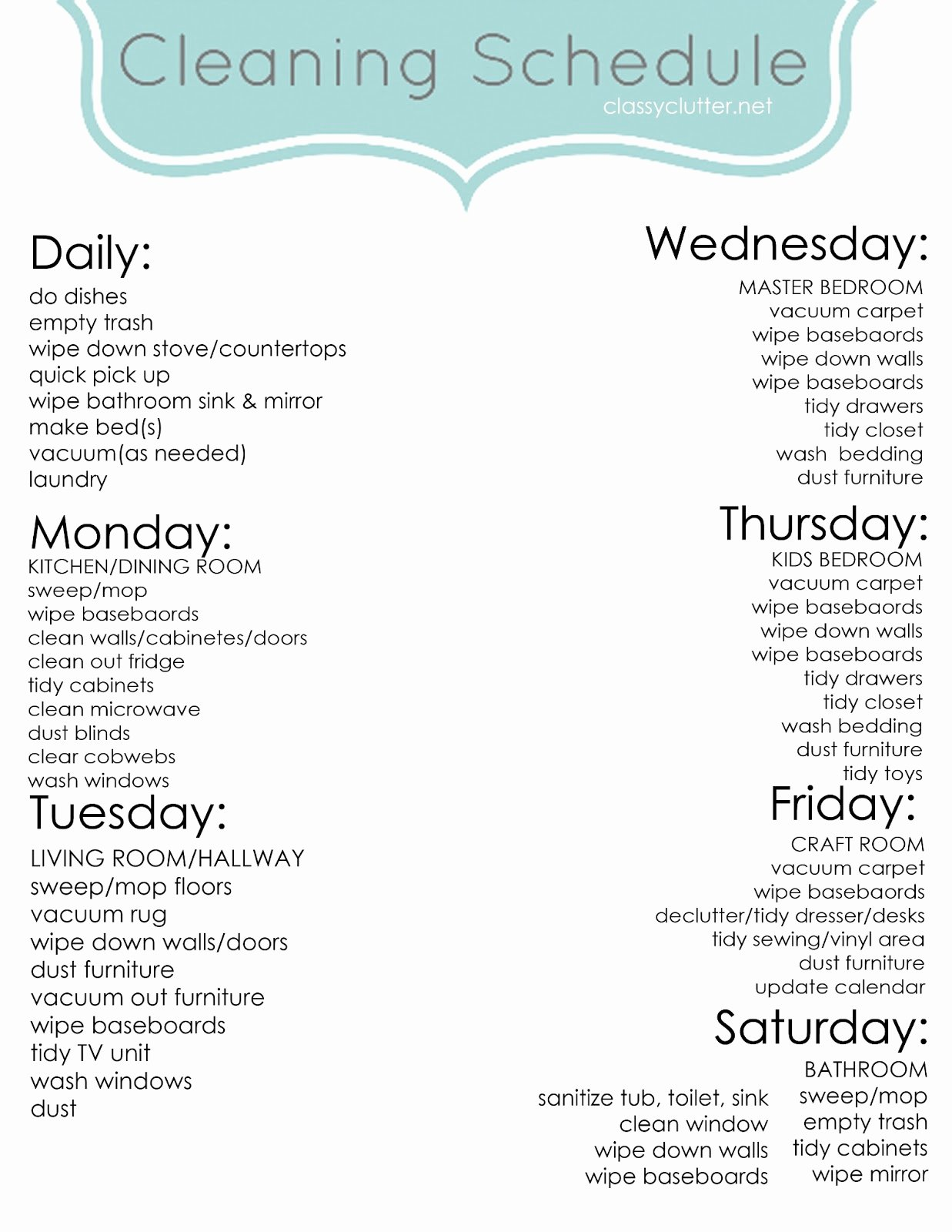 Monthly Cleaning Schedule Template New Weekly Cleaning Schedule Improve Your Cleaning Habits