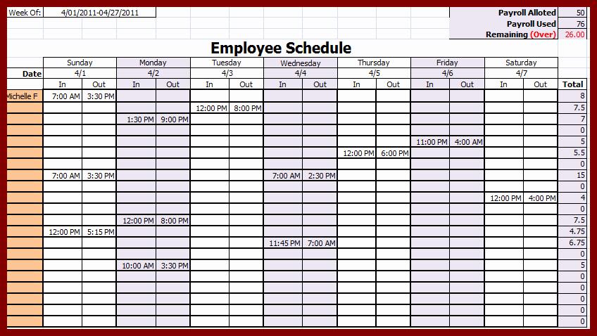 Monthly Employee Schedule Template Excel Inspirational Weekly Employee Schedule Template
