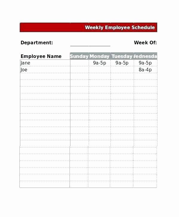 Monthly Employee Schedule Template Excel New Weekly Employee Schedule Template Excel – Tailoredswift