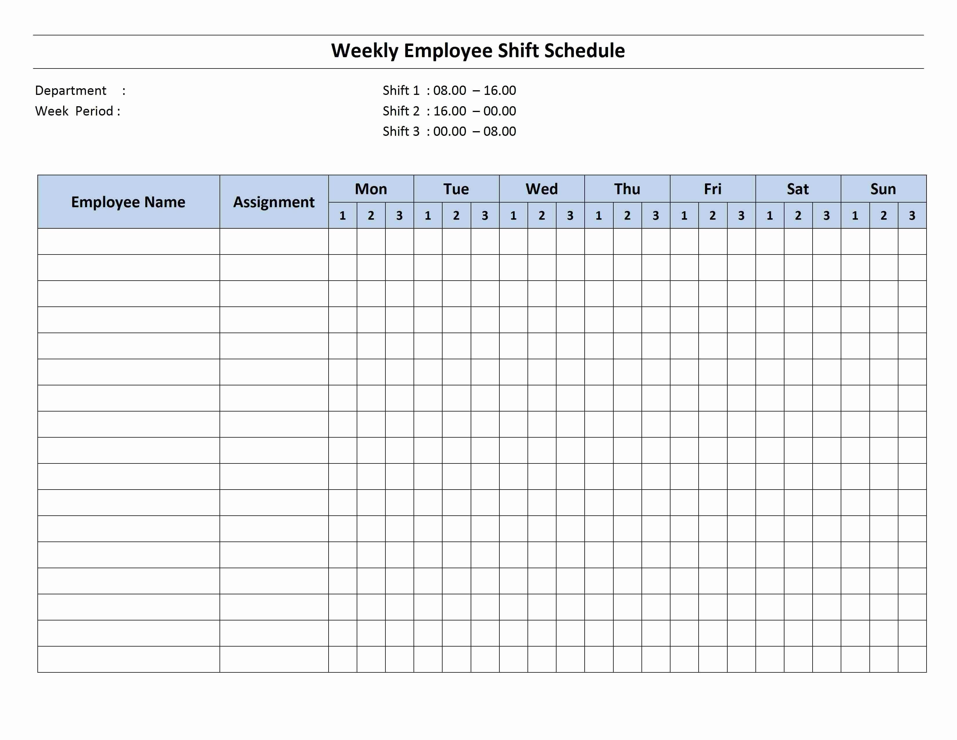 Monthly Employee Schedule Template Excel Unique Free Monthly Work Schedule Template