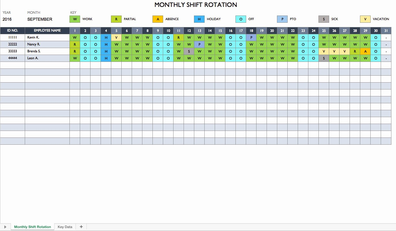 Monthly Employee Shift Schedule Template Elegant Free Work Schedule Templates for Word and Excel